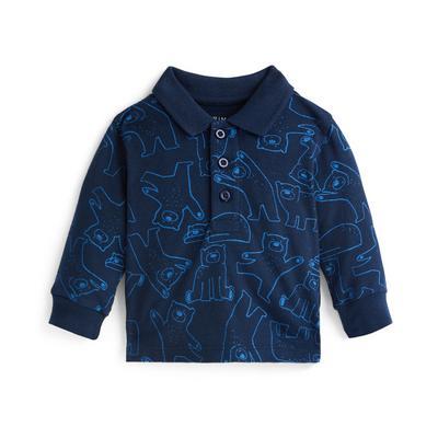Baby Boy Navy Bear Print Polo Neck Sweater