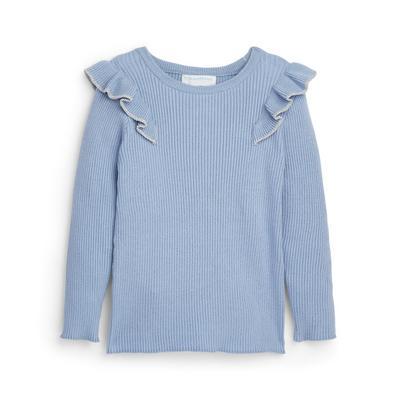 Younger Girl Blue Knitted Frill Shoulder Jumper