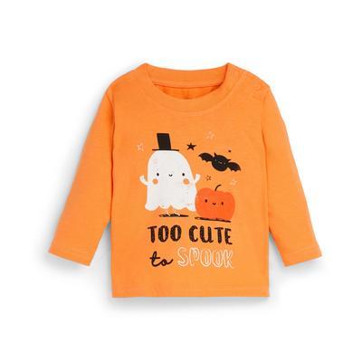 Baby Boy Orange Halloween Longsleeve T-Shirt
