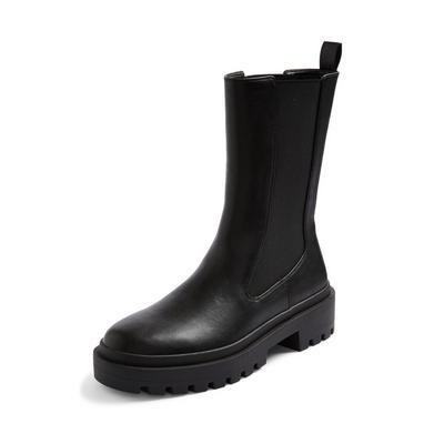 Black High Leg Chunky Chelsea Boots