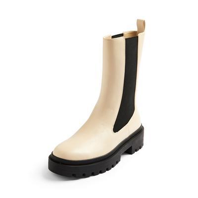 Ivory High Leg Chunky Chelsea Boots