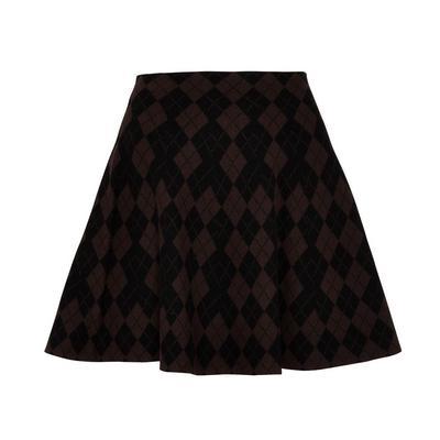 Brown Diamond Pattern Skater Skirt