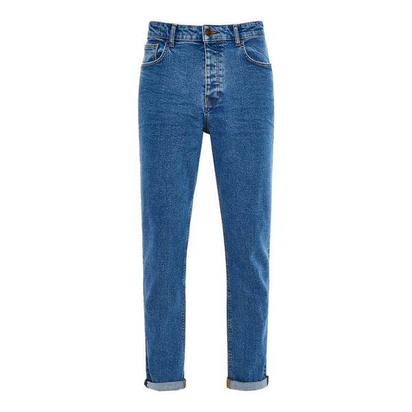 Blue Denim Relaxed Tapered Jeans