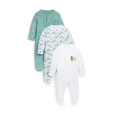 Newborn Baby Boy Green Disney Pluto Print Sleepsuits 3 Pack