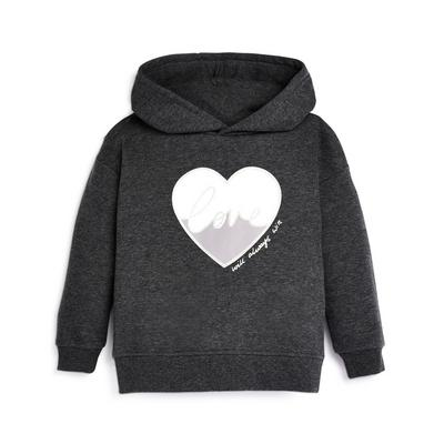 Younger Girl Charcaol Heart Print Hoodie