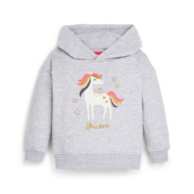 Younger Girl Grey Unicorn Print Hoodie
