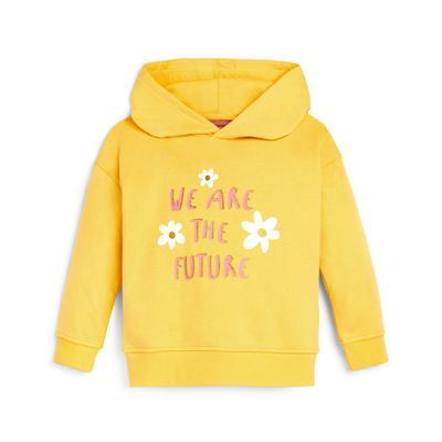 Felpa gialla con cappuccio e scritta da bambina