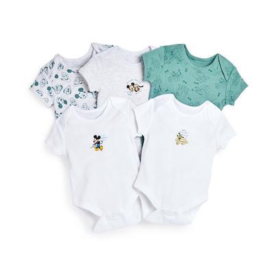 Newborn Baby Boy Disney Pluto Bodysuit 5 Pack
