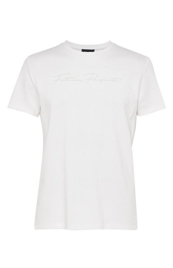 T-shirt blanc en jacquard Kem