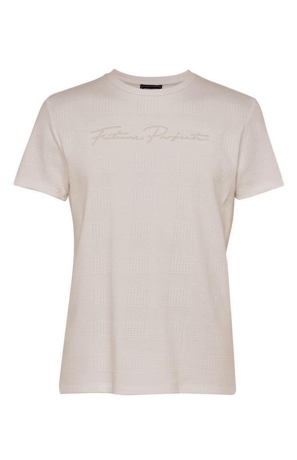 T-shirt taupe en jacquard Kem