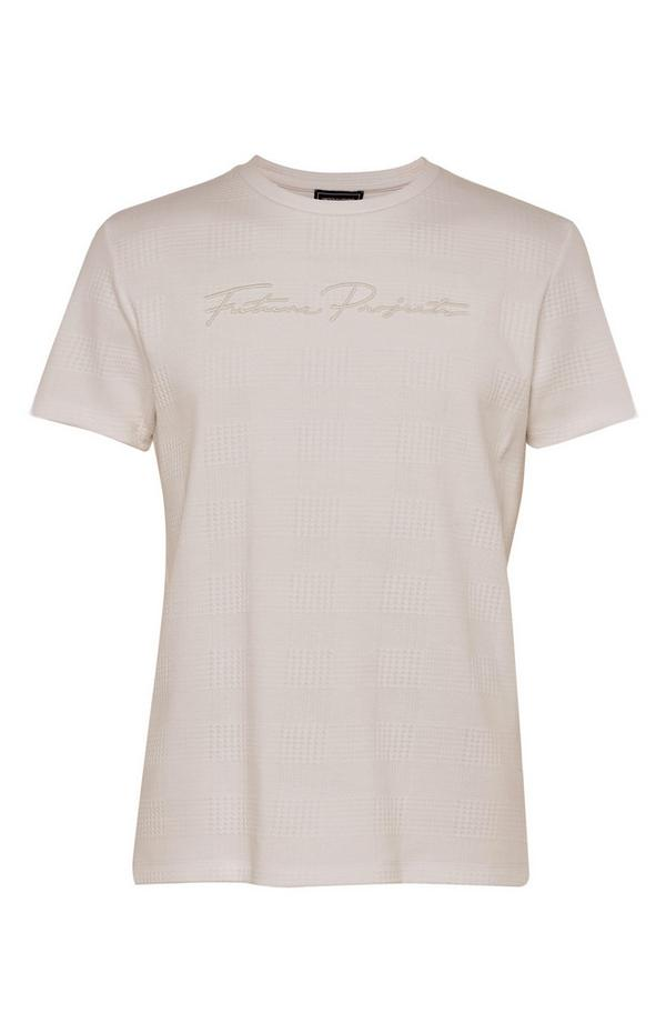 Taupe jacquard-T-shirt Kem