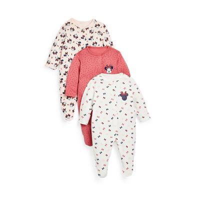 Newborn Baby Girl Disney Minnie Mouse Sleepsuits 3 Pack