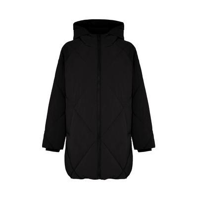 Schwarzer gefütterter Mantel mit Rautenmuster