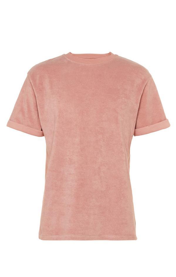 Rožnata majica iz frotirja z zavihanimi rokavi