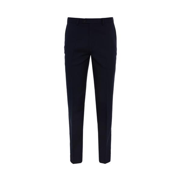 Navy Herringone Suit Trousers