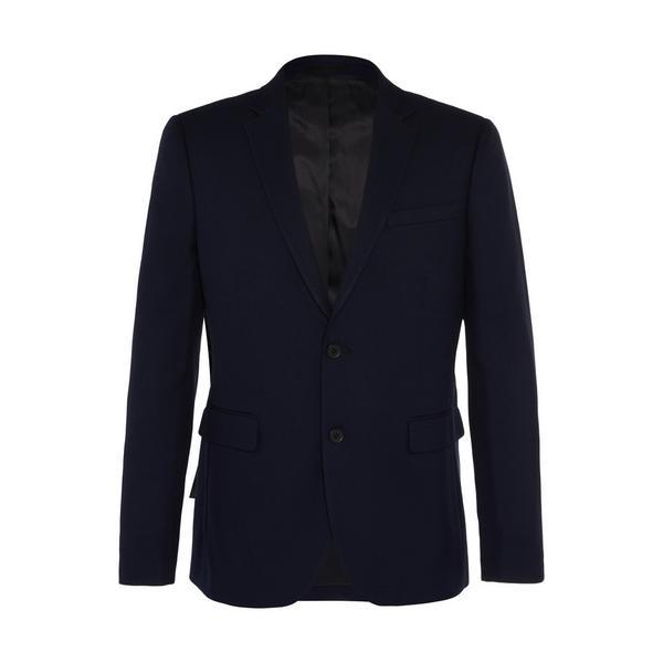 Navy Herringone Suit Jacket