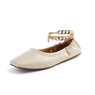 Ivory Square Toe Chain Detail Ballerina Slippers
