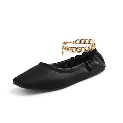 Black Square Toe Chain Detail Ballerina Slippers