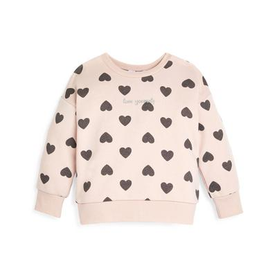 Younger Girl Pink Heart Print Crew Neck Sweater