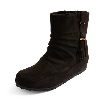Black Faux Suede Side Tassel Boots