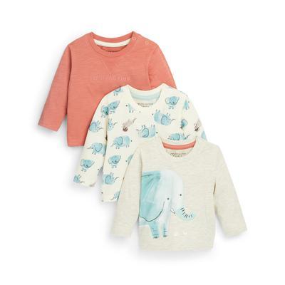 Baby Boy Mixed Elephant Print Longsleeve T-Shirts 3 Pack