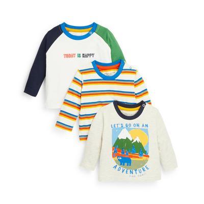 Baby Boy Mixed Print Longsleeve T-Shirts 3 Pack