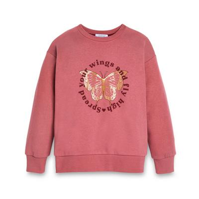 Older Girl Pink Butterfly Print Crew Neck Sweater