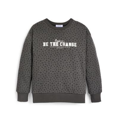 Older Girl Charcoal Animal Print Slogan Crew Neck Sweater