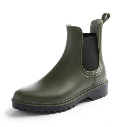 Khaki Chunky Chelsea Welly Boots