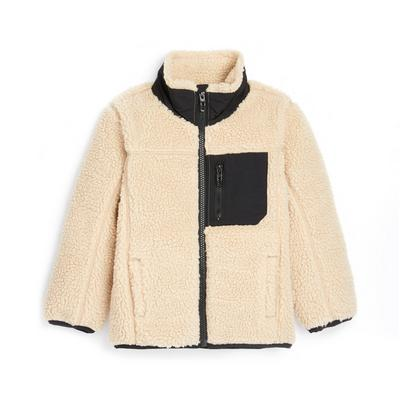 Younger Boy Beige Fleece Hiker Jacket
