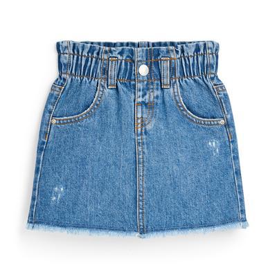 Blauwe paperbagrok van spijkerstof voor meisjes