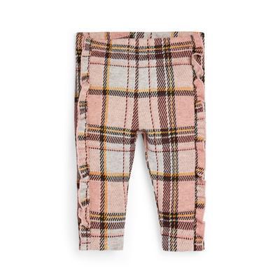Baby Girl Pink Check Ruffle Detail Leggings