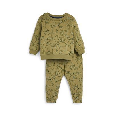 Baby Boy Khaki Bear Print Leisure Set