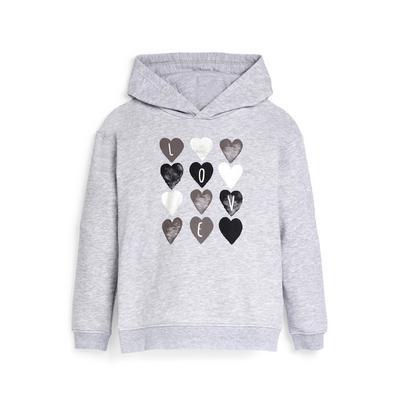 Older Girl Gray Heart Print Hoodie