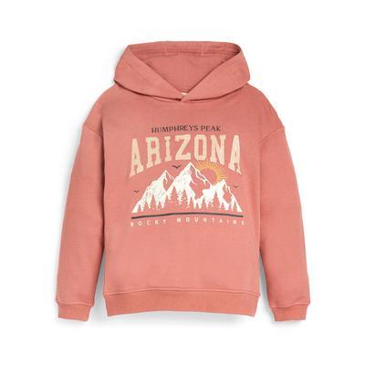 Older Girl Pink Arizona Print Hoodie