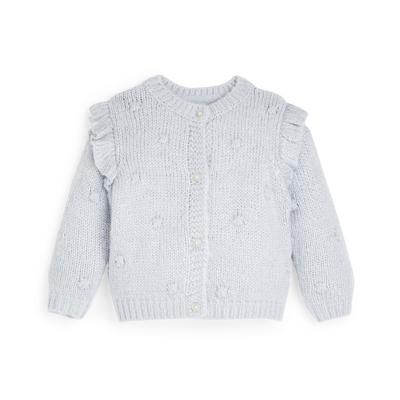 Baby Girl Silver Knit Ruffle Shoulder Pompom Cardigan