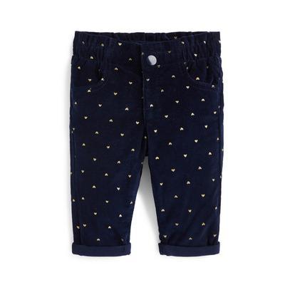 Baby Girl Navy Heart Print Relaxed Corduroy Pants