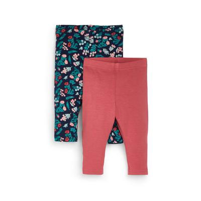 2-Pack Pink And Floral Baby Girl Ankle Leggings