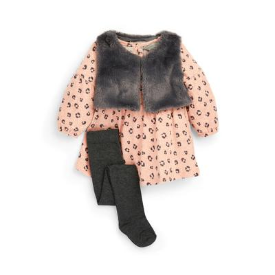 Baby Girl Faux Fur Gilet Dress Set 3 Piece