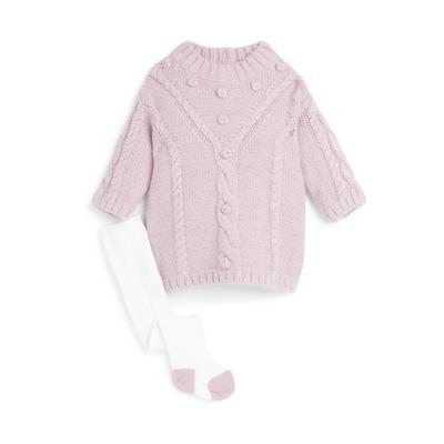 Baby Girl Lilac Knitted Dress Set 2 Piece
