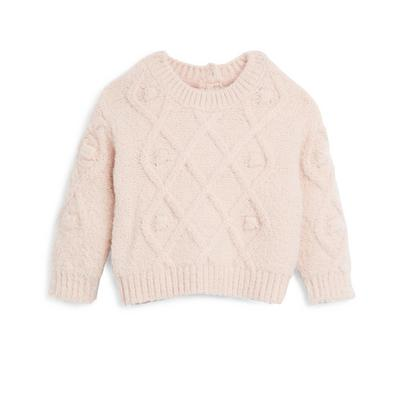 Baby Girl Pink Popcorn Cable Knit Sweater
