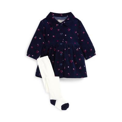 Baby Girl Navy Floral Printed Corduroy Dress Set 2 Piece