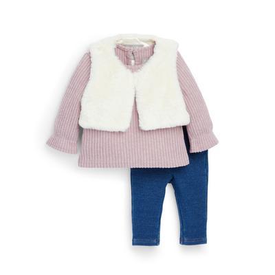 Baby Girl Faux Fur Gilet Leisure Set 3 Piece