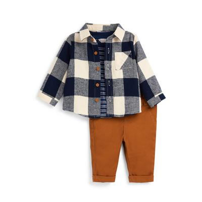 Baby Boy Check Shirt And Trousers Set