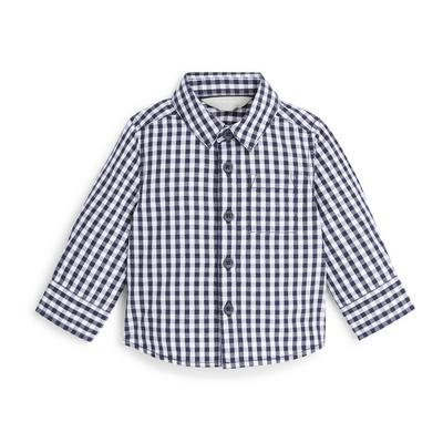 Baby Boy Navy Gingham Poplin Shirt