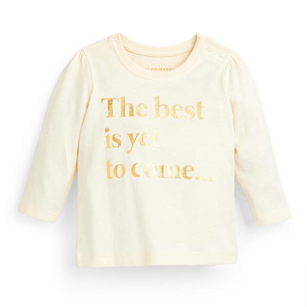 Baby Girl Ivory Longsleeve Slogan T-Shirt