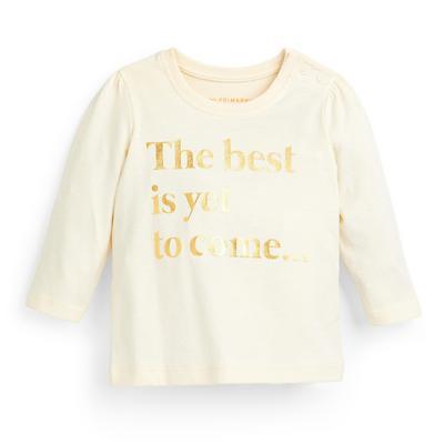 T-shirt ivoire à manches longues et message bébé fille