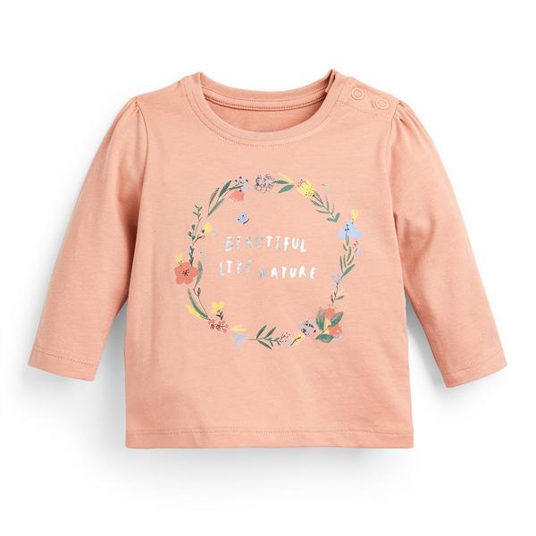 Baby Girl Blush Longsleeve Slogan T-Shirt