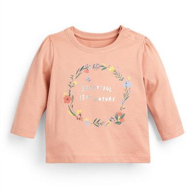 T-shirt rose poudré à manches longues et message bébé fille