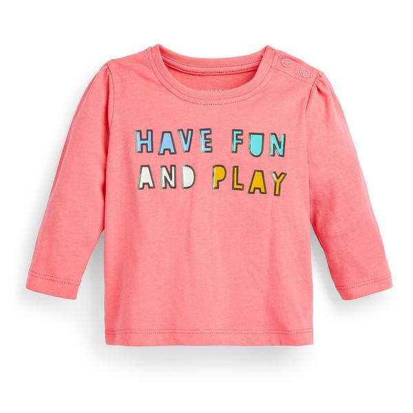 Baby Girl Pink Longsleeve Slogan T-Shirt